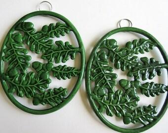 2 Oval Trivets, Green Enamel on Cast Iron Oak Leaf Acorn, Hanging, ODI