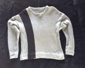 Soft, Gray Sweater with Vertical Black Stripe