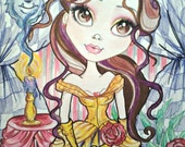 Fairytale Fantasy Belle and the Roses Beauty and the Beast Art Print by Leslie Mehl