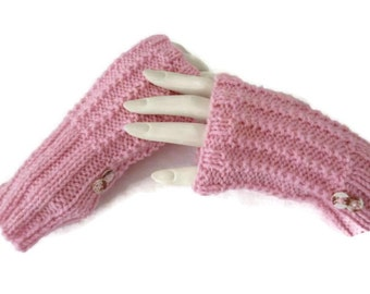 Knit Wrist Warmers, Knit fingerless gloves, Pink Gloves, Texting Gloves, Winter Gloves