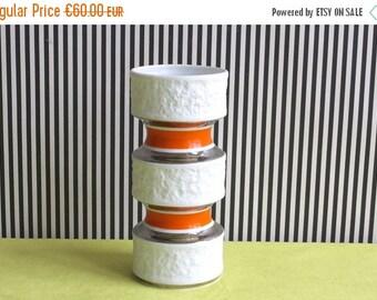 Summersale Mid Century Modern Op-Art White, Orange and Silver Matte German Bisque Porcelain by Royal Bavaria KPM