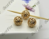 2 pcs 10mm 24K Gold Plated Brass ball Charm Pendant Spacer,Charms Jewelry Findings,metal brass spacers finding beads