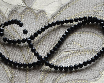 Single small 4mm Round black Agate Beads ,agate stone beads loose strands,agate beads findings 15inch