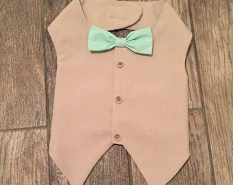 Mr. With mint bowtie,  wedding best man dog, ring bearer dog, dog wedding vest, mint vest, formal dog vest, bestman dog vest groom dog vest