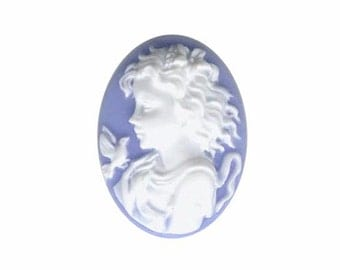Cabochon 25x18 Blue white cameo woman with bird resin Cameo cameo jewelry supply jewelry findings pastel gothic 816q