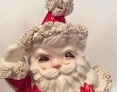 CHRISTMAS SALE Vintage Waving Spaghetti Santa Figurine Candy Dish Napcoware Japan