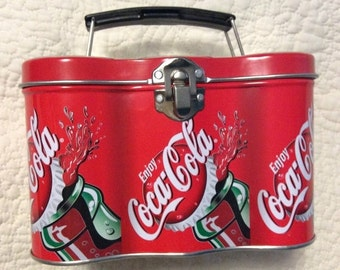 20% SALE Vintage Coca Cola Coke Tin Container Lunch Box Six Pack Can Handle Collectible