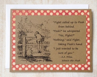 Sure of You - Winnie the Pooh Quote - Classic Piglet and Pooh Note Card Rust Red Dot Border