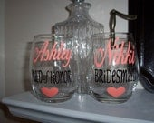 Personalized Stemless Wine Glasses, Bridesmaids Wine Glasses, Bridal Party Wine Glass