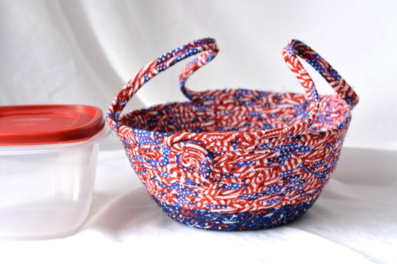 Patriotic Cookie Caddy, Red White and Blue Party Bowl, Decorative Bowl, Picnic Basket, 4th of July Decoration, Cookout Dessert Carrier