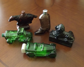 Set of Five Avon Collectible Men's Cologne Bottles
