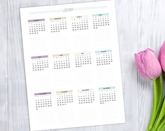 2018 Wall Calendar, printable