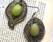 Rustic antique style romantic earrings polymer clay dangle earrings bronze golden green mosaic one-of-a-kind earrings