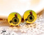 20% off NEW Unique 3D Embossed Vintage Bicycle 16mm Round Handmade Wood Cut Cabochon to make Rings, Earrings, Necklaces, Bracelets-(WG-309)