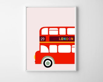 London Nursery Art , Travel Nursery Art , England UK Wall Art Girl , London Bus Pink Girl Nursery Art , Playroom London Artwork Red Bus Art