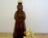 Vintage Larger Amber Glass Mrs. Buttersworth Aunt Jemima Syrup Bottle Soap Lotion Dispenser