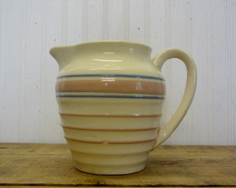 "Vintage 6"" Pink and Blue Banded Striped Creamy Off White Pitcher McCoy USA Farmhouse Decor"