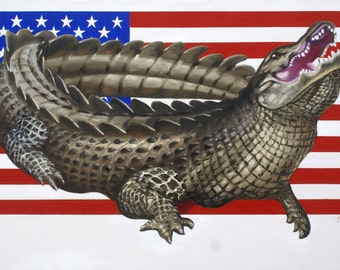 USA alligator illusion 11x17 print by RUSTY RUST / A-125-P