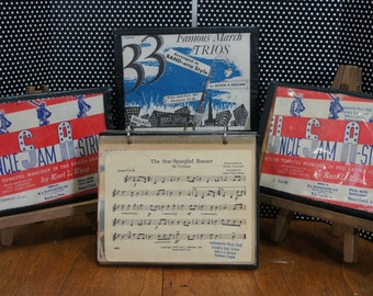Vintage Marching Band Music Folios Lot of 4 ,red, white and blue, patriotic
