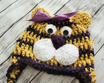 Baby Hat - Tiger Hat - Baby Tiger Hat - Yellow and Purple Tiger Mascot Hat - Halloween Tiger Costume Hat - by JoJosBootique