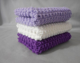 Handmade Knitted Dish Cloth, Knitted Washcloth, Spa Washcloth, Knitted Dishcloth, 100% Cotton, Eco-Friendly, Lilac White and Purple