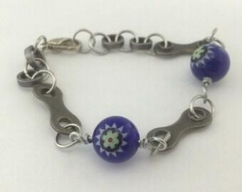blue bicycle bracelet, cycling bracelet, bike jewelry, fixed gear gift, bmx bracelet, mountain bike gift, road bike bracelet