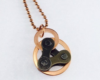 Tour de France bike jewelry bicycle chain double copper circle and triangle, bicycle necklace