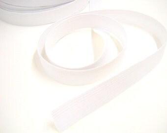 1 Inch Wide Elastic, White Poly Elastic, Sewing Notions, 5 yards Flat Elastic, elas005/5