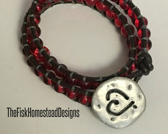 Leather Wrap Bracelet - Red Heart
