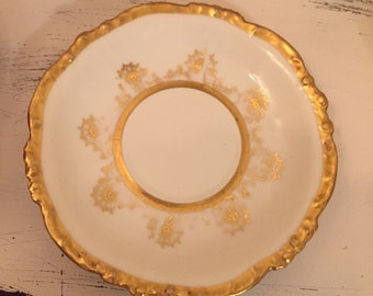 1 White and Gold Limoges saucer