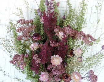 Dried Flower Bouquet Floral ArrangementStrawflowers in Blush Meadow Grass Natural Dyed Mauve Yarrow Everlasting Flowers Free Lavender Sachet