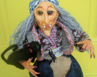 Halloween Witch Russian Fairy Tales Art Doll Baba Yaga with her Black Cat