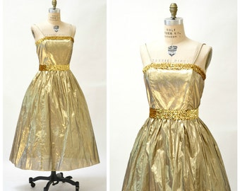 Vintage Gold Metallic 80s Prom Dress Size Medium Large// Vintage Gold 80s Party Metallic Dress with Crinoline SIze Medium