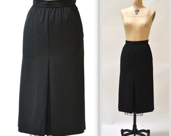 Vintage Saint Laurent Black Wool Skirt - 1970s YSL Rive Gauche - size 40 US 6 - High Waist  w/ Pockets