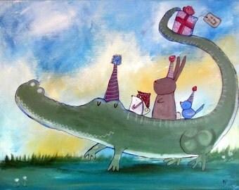 Kids Wall Art, Original Painting for Children, Storybook Style Art, Alligator Kids Room Decor, Bunny, Mouse, Bird, Animals, Birthday Party