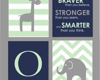 "Mint Nursery Art, Navy and Mint Nursery, Elephant Nursery, Always Remember You are Braver, Giraffe Nursery Wall Art, Set of four 8""x10""s"
