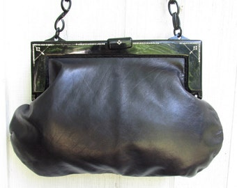 Vintage 1960s Leather Purse with Black Lucite Frame with Rhinestones and Lucite Chain Handle