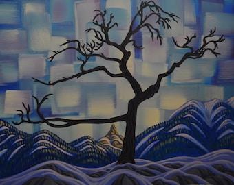 Burmis Tree, 24X30, Original Painting, Canadian Artist, Ready to Hang, Gallery Canvas