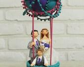 Hot air balloon outdoor theme custom wedding cake topper