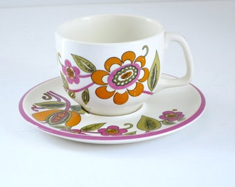 Retro Boch Belgium Tea Cup and Saucer, Hippie Flower Power Ceramic Teacup Set, Pink Orange 70s Paisley Pattern Teacup and Saucer
