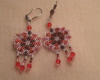 Orange shield earrings