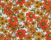 REDUCED-Mid century orange floral bedcover coverlet vintage bedspread double size mod daisy gold green floral cotton