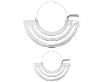 Silver Hoop Earrings - Minimal Geometric Earrings 2 Sizes