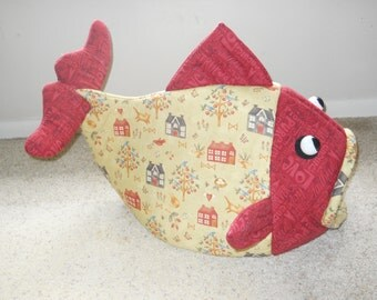 Fish Shaped Cat Bed Lancaster County Amish Print with Deep Red Head