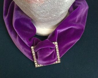 Velvet collar/necklace/scarf/hat with Crystal Jewel adjustable/purple no flaws
