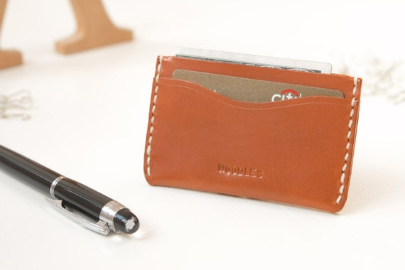 Personalized Name Leather Thin Card Holder/Wallet/Case, Monogram Name,Hand Stitched by Harlex/ Gift for Him,Christmas Gift,Thanksgiving Gift