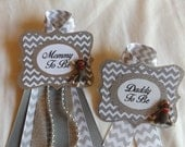 Mommy and Daddy to Be SET, Sock Monkey, Chevron, Corsage Pin, Baby Shower, Maternity sash, Photo Prop