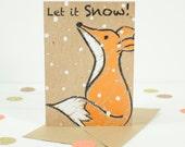 Christmas Card with cute fox illustration - Let it snow Christmas Card