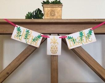 Aloha Made Pineapple Baby Shower / Hawaiian Baby Shower / Green Gold and Pink / Aloha Baby Shower