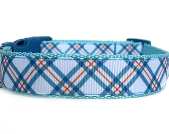 Plaid Dog Collar / Argyle Dog Collar / Boy Dog Collar / Nylon Webbing Dog Collar / Blue Orange Plaid Dog Collar / Preppy Dog Collar